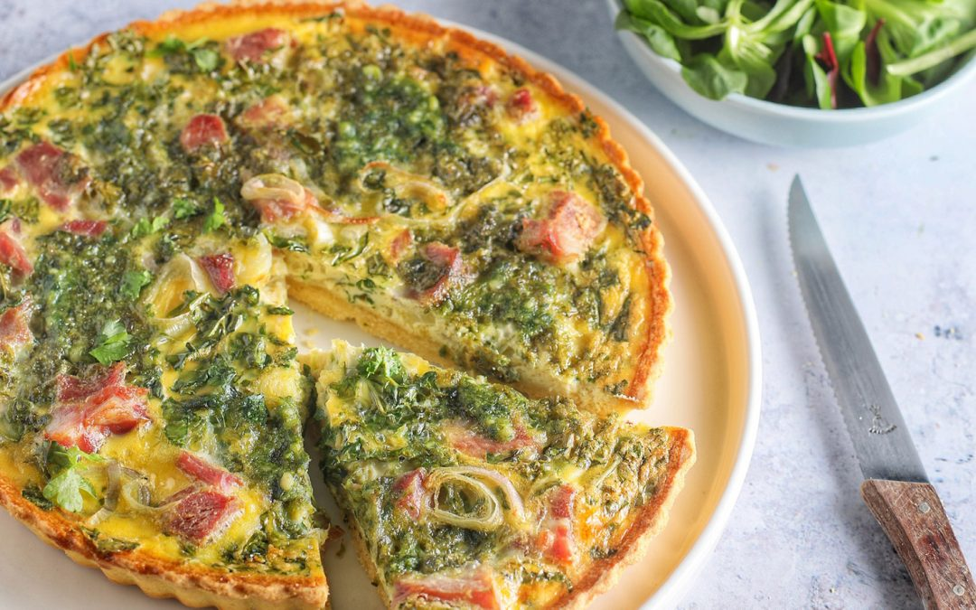 Bacon, Cabbage + Green Pesto Quiche