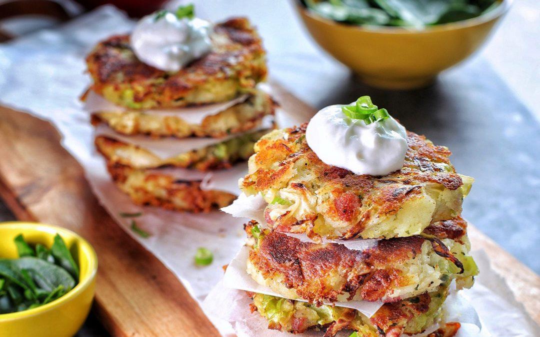 Cabbage, Potato, Pesto + Bacon Fritters with Greek Yoghurt