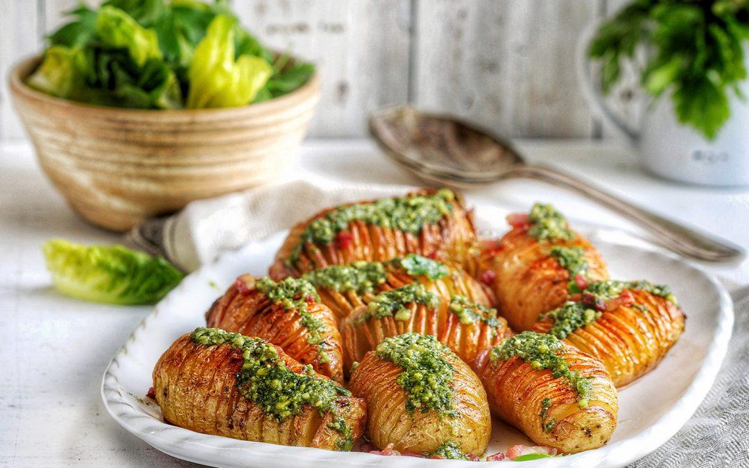Hasselback Potatoes with Green Pesto