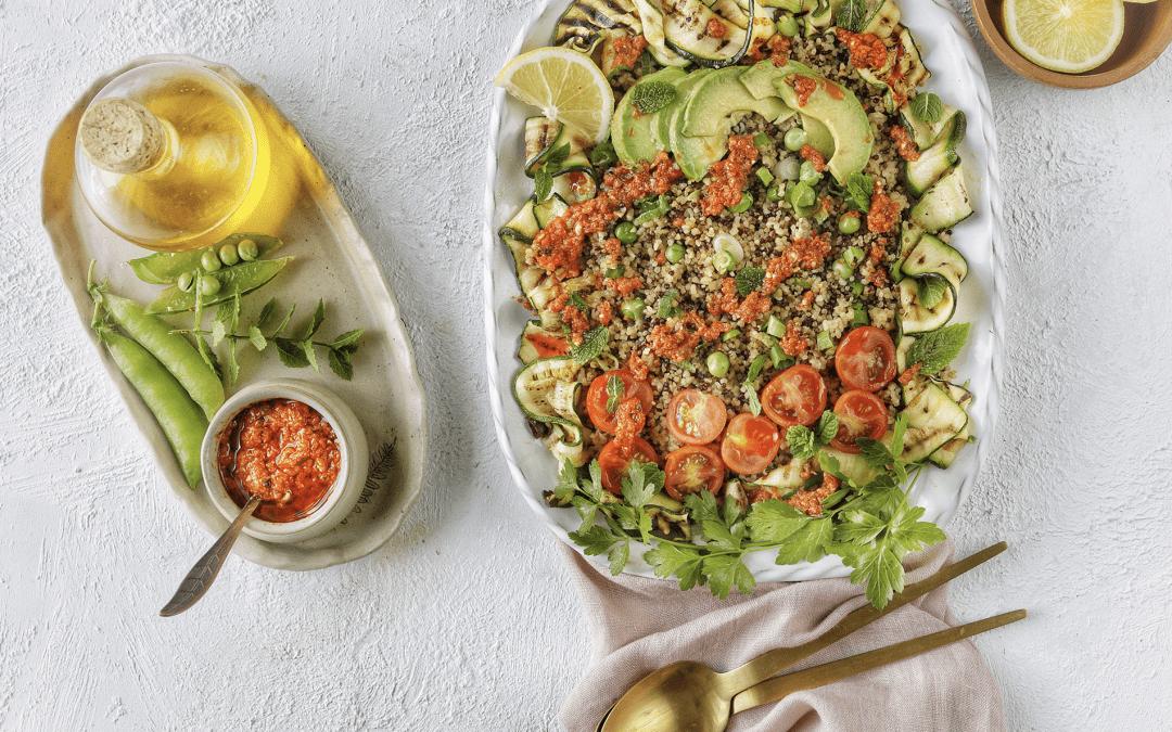 Courgette + Quinoa Salad with Red Pesto