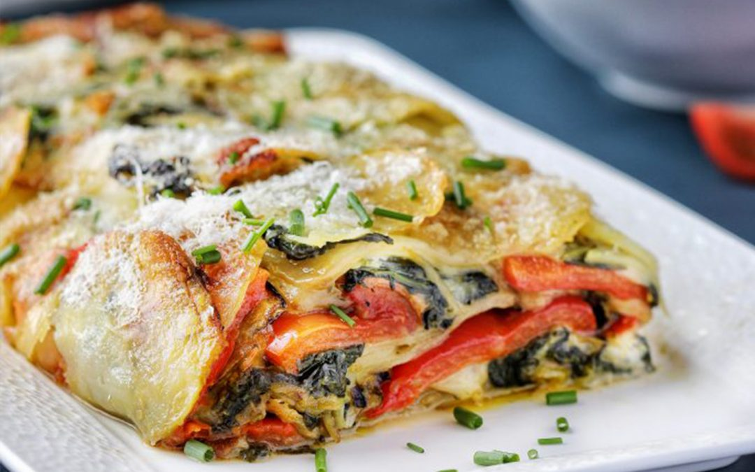 Potato + Vegetable Baked Rotolo, with Green Pesto