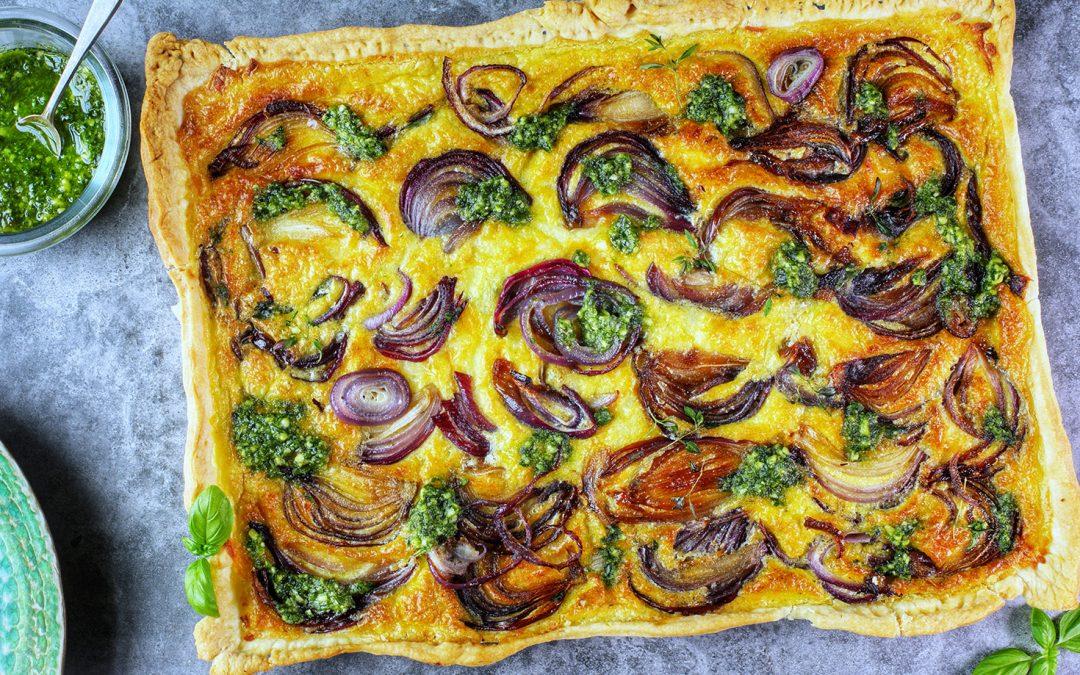 Rustic Onion Tart with Green Basil Pesto